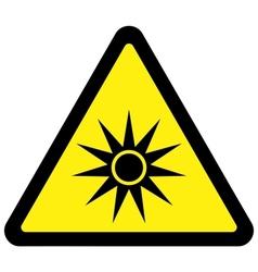 optical radiation warning sign vector image vector image