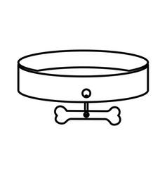 sketch silhouette pet necklace and bone plaque vector image