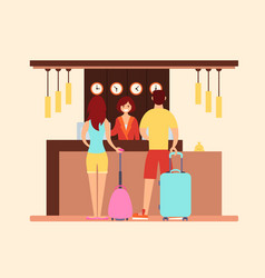 tourists at the hotel reception vector image