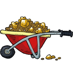 with gold nuggets trolley vector image vector image