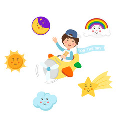 boy riding plane on the sky and symbol setisolated vector image