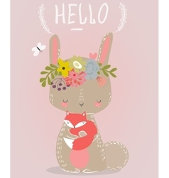 cute hare with little fox vector image vector image