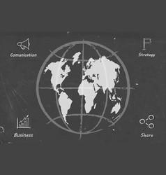 business wolrd map blackboard sketch vector image vector image
