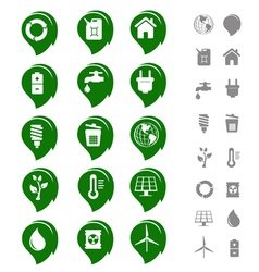ecology and environment icon set vector image vector image