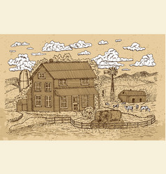 old farm with cows and white clouds on texture vector image
