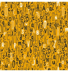 seamless different letters pattern yellow vector image vector image