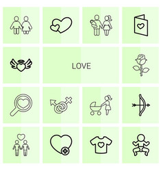 14 love icons vector