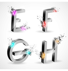 3D Shiny Explosion Alphabet vector image