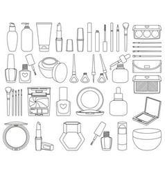 47 line art black and white cosmetic elements vector image