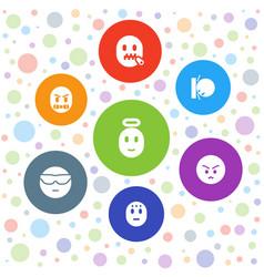 7 emoji icons vector