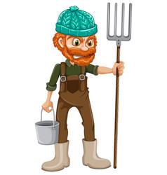 A farmer with pitchfork vector