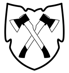 Ax in shield icon vector
