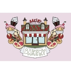 Bakery shop doodles vector