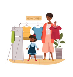 Black mother and daughter buying clothes vector