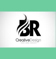 Br b r creative brush black letters design vector
