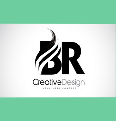 Br b r creative brush black letters design with vector