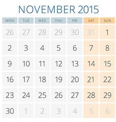 Calendar 2015 November design template vector image
