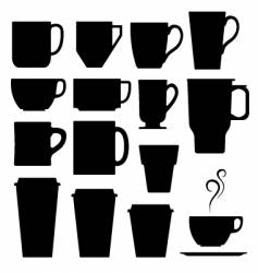 Coffee cups mugs and tea vector