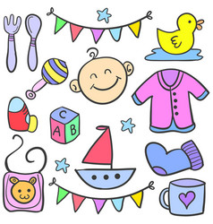 collection of element various baby doodles vector image