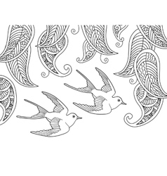Coloring page with two birds and willow leafs vector