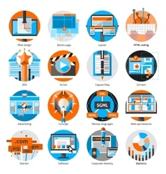 Creative Online Work Round Icons Set vector image