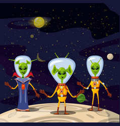 cute aliens in space suits spaceship crew cartoon vector image