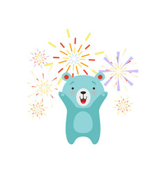 Cute bear celebrating with fireworks lovely vector