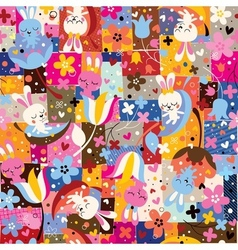 cute bunnies flowers collage nature pattern vector image