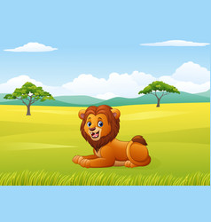 cute lion sitting in jungle vector image