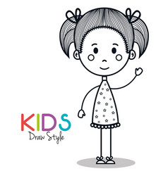 Cute little girl drawing vector