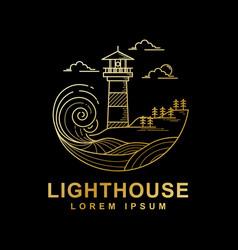 Design lighthouse golden color vector