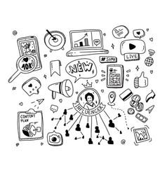 doodle set social media concept influencer vector image