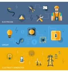 Electricity Banners Set vector