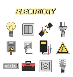 Electricity flat icons set vector