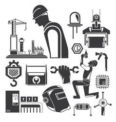 engineer and industrial tool icons vector image
