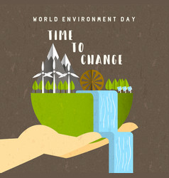 environment day card green earth landscape vector image
