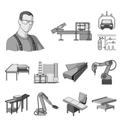 Equipment and machine monochrome icons in set vector
