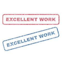 excellent work textile stamps vector image