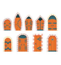 fairytale doors medieval element medieval vector image