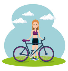 female athlete with bicycle vector image