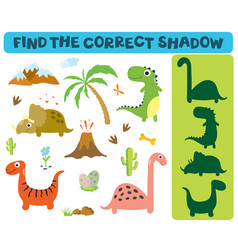 Find the correct shadow adorable dinosaurs vector