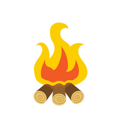 Flame and spark bonfire or burning wood vector