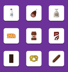 flat icon food set of bottle cookie ketchup and vector image