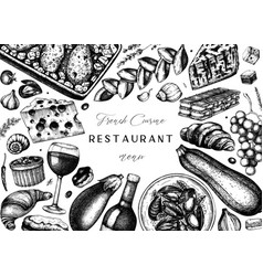 French food and drinks frame design engraved vector