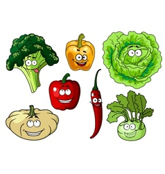 Fresh healthy cartoon vegetables characters vector image