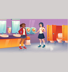 girls in public toilet with tampon vending machine vector image
