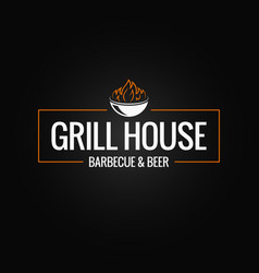 Grill logo border bbq and grill fire on black vector