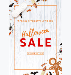 halloween sale flyer with treats vector image