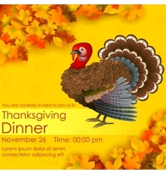 Happy Thanksgiving invitation card vector image