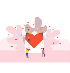 heart in large envelope and tiny people valentines vector image
